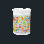 """Abstract vintage flowers beverage pitcher<br><div class=""""desc"""">Abstract floral pattern with a cool vintage effect and a light blue background</div>"""