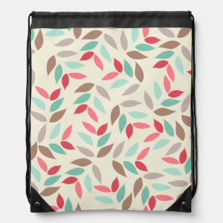 Abstract Vintage Inspired Leaves Pattern Drawstring Backpack