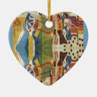 Abstract Vintage Romanian embroideryr Ceramic Ornament
