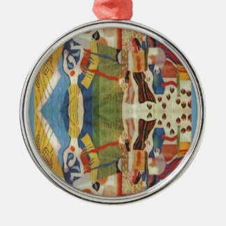 Abstract Vintage Romanian embroideryr Metal Ornament