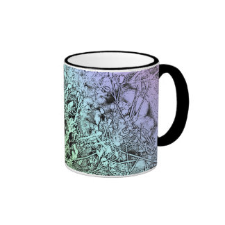 Abstract Violet and Blue Weeds with Black Handle Ringer Coffee Mug