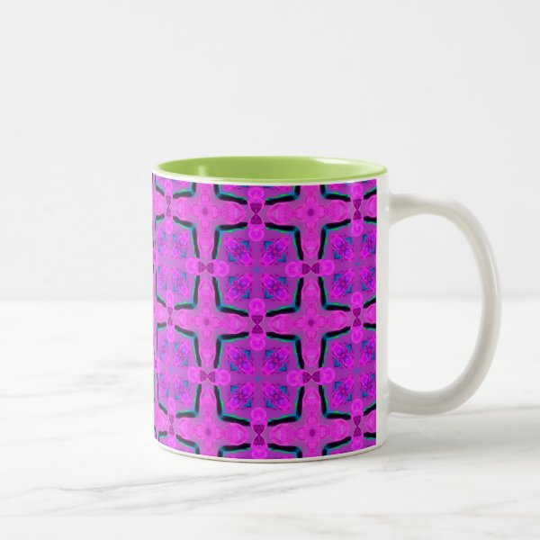 Abstract Violet Pink Geometric Vibrant Cubes Two-Tone Coffee Mug