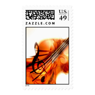 Abstract Violin Art Postage Stamps