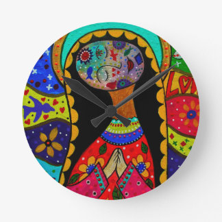 ABSTRACT VIRGIN GUADALUPE ROUND CLOCK