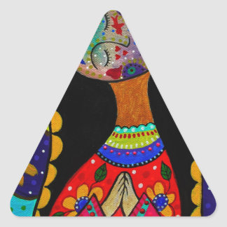 ABSTRACT VIRGIN GUADALUPE TRIANGLE STICKER