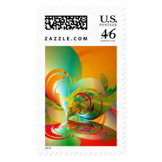 Abstract Vortex Postage Stamp