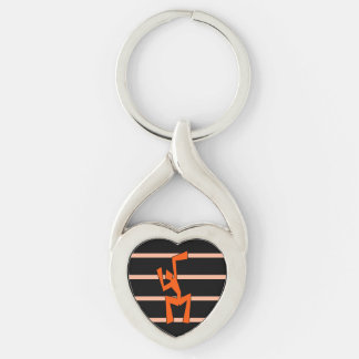 Abstract Wacky Dancer Silver-Colored Heart-Shaped Metal Keychain