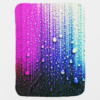 Abstract wall painting pink turqouise raindrops stroller blankets