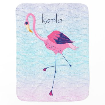 Beach Themed Abstract Water Beach Waves With Pink Flamingos Swaddle Blanket
