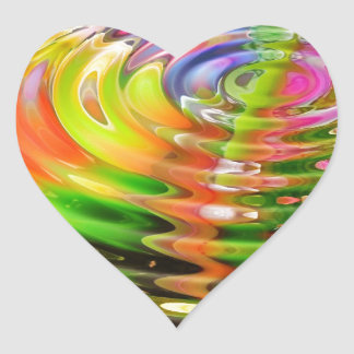 Abstract Water Color Ripples Heart Sticker