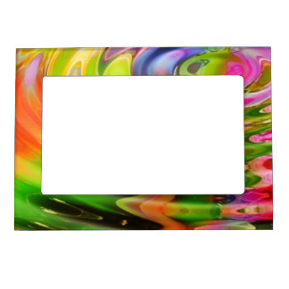 Abstract Water Color Ripples Magnetic Photo Frame
