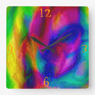 Abstract Water Colors Square Wall Clock