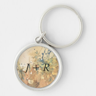 Abstract watercolor and old background Silver-Colored round keychain