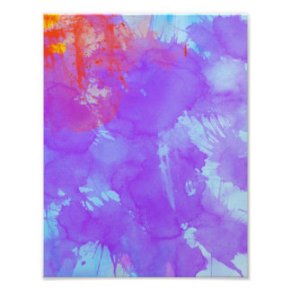 Abstract Watercolor Art Violet,Blue,Red,Yellow Ink Photo