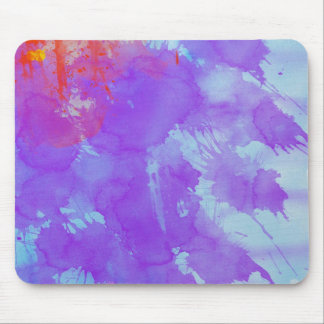 Abstract Watercolor Art Violet, Blue,Red, Yellow Mouse Pad