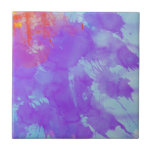 Abstract Watercolor Art Violet, Light Blue, Orange Tiles