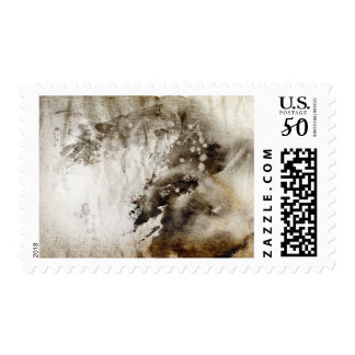 Abstract watercolor background on grunge paper postage