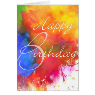 Abstract Watercolor Birthday Card