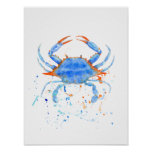 Abstract watercolor blue crab Print