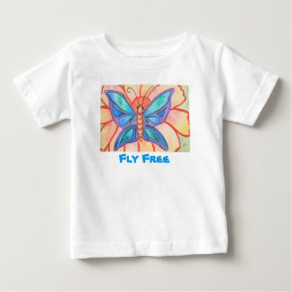 Abstract watercolor butterfly and flower baby T-Shirt