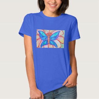 Abstract watercolor butterfly and flower tee shirt