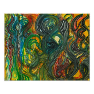 Abstract Watercolor by Toby mikle Poster