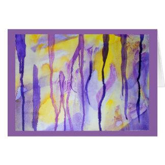 Abstract watercolor cave stalactites & stalagmites card