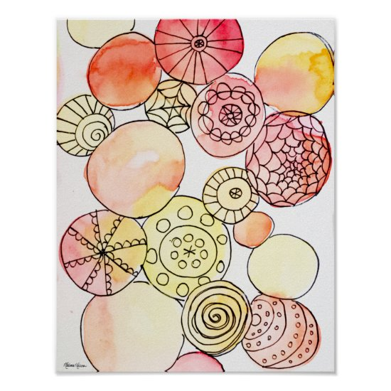 Abstract Watercolor Circles Pink Orange Yellow Poster