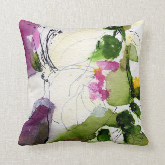 Abstract Watercolor Design Mix and Match Sides Throw Pillow