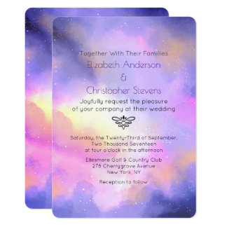 Abstract Watercolor - Elegant Space Design Wedding Card