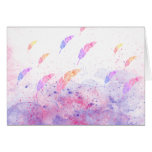 Abstract Watercolor Feathers Pink Blue Splatters Cards