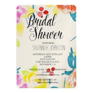 Abstract Watercolor Floral bridal shower Card