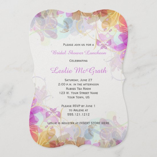 Abstract Watercolor Floral Bridal Shower Invite