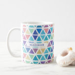"""Abstract Watercolor Geometric (Coral Reef Tones) Coffee Mug<br><div class=""""desc"""">Brighten up your morning with this chic,  modern watercolor geometric pattern in a beautiful coral reef color scheme of ocean blues and sea life greens,  pinks,  purples and yellows. Contact the designer if you'd like a modification to this design or want it on another product.</div>"""