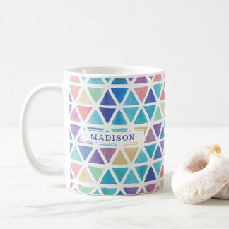 Abstract Watercolor Geometric (Coral Reef Tones) Coffee Mug
