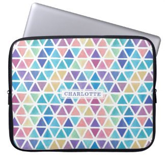 Abstract Watercolor Geometric (Coral Reef Tones) Computer Sleeve