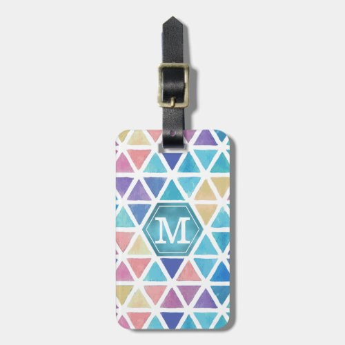 Abstract Watercolor Geometric Coral Reef Tones Luggage Tag