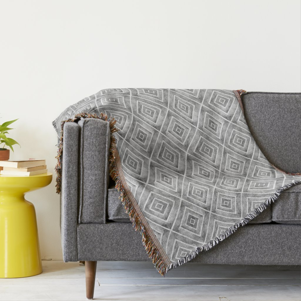 Abstract watercolor geometric gray pattern throw blanket