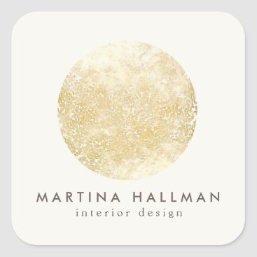 Abstract Watercolor Gold Circle Logo on Ivory Square Sticker
