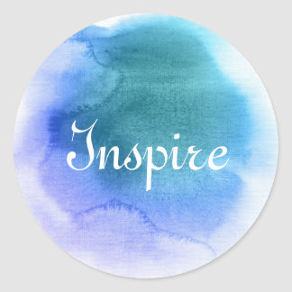 Abstract watercolor hand painted background 12 classic round sticker