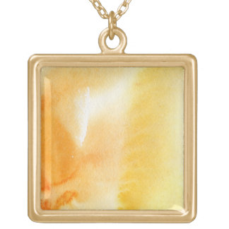 Abstract watercolor hand painted background 14 square pendant necklace