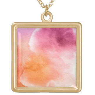 Abstract watercolor hand painted background 3 square pendant necklace