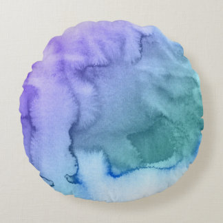 Abstract watercolor hand painted background 6 round pillow