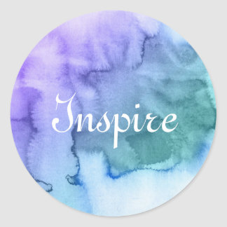 Abstract watercolor hand painted background 6 classic round sticker