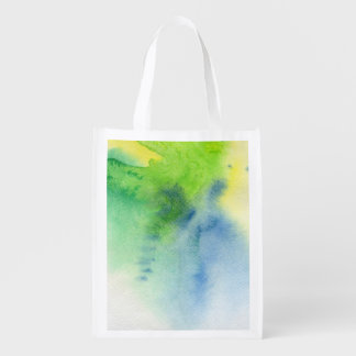 Abstract watercolor hand painted background 8 2 reusable grocery bag