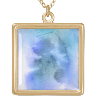 Abstract watercolor hand painted background 9 square pendant necklace