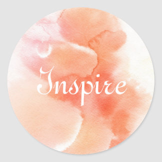 Abstract watercolor hand painted background classic round sticker