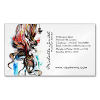 Abstract Watercolor ink colorful woman makeup Magnetic Business Card