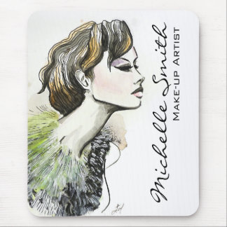 Abstract Watercolor ink colorful woman makeup Mouse Pad