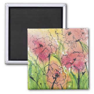 Abstract Watercolor & Ink Poppies Magnet